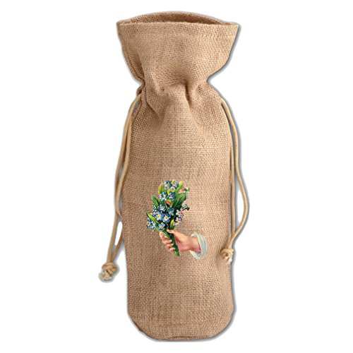 Burlap Wine Drawstring Bag Flower Holding By Style In Print