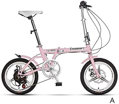 MDYMX Bicicleta para niños Bicicleta Plegable Ultraligera Juventud Estudiante Chico niña Modelos Adultos Velocidad portátil Frenos de Disco Doble 16 Pulgadas Bicicleta Pedal para niños (Color : B): Amazon.es: Hogar