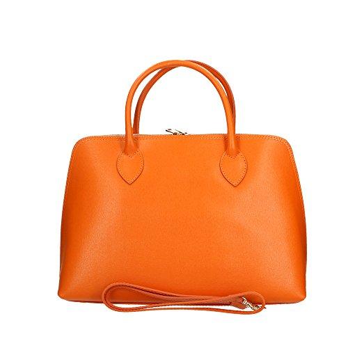 Woman's Genuine Cm Orange In Handbag Italy Made Aren Leather 37x27x12 t8wdTdq