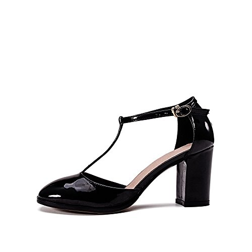AllhqFashion Womens Patent Leather Square Closed Toe High-Heels Buckle Solid Sandals Black 8NF1FyTd7