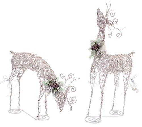 Set of 2 LED Lighted Rattan Snowy Deer Christmas Yard Art Decorations 24''-44.5'' by Melrose (Image #1)