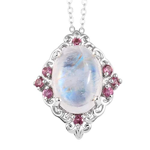 - Rainbow Moonstone Morro Redondo Pink Tourmaline Pendant Necklace 20