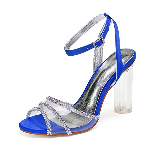 Elobaby Women Wedding Shoes Summer Solid Buckle Rhinestones Chunky Silk Toe Platform High Heels Peep Toe/10.5 cm Heel, Blue, ()