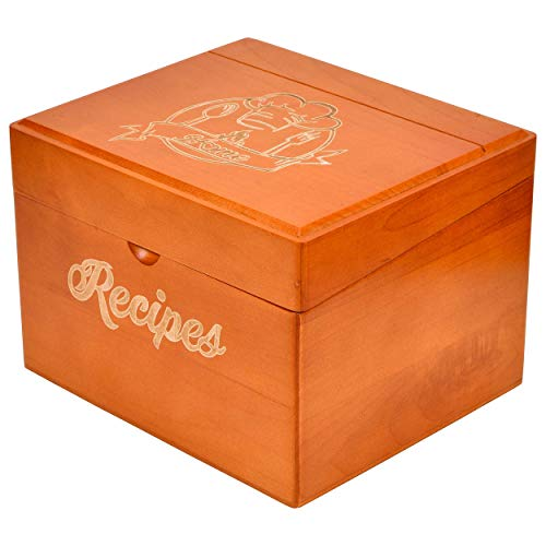 - Akshaya Maplewood Recipe Box Gift Set with 100 recipe cards 4x6 and 12 dividers | Perfect gift for Women's Bridal Shower and Weddings