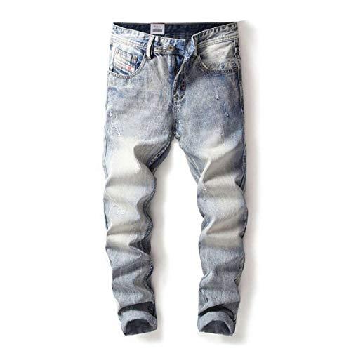 Ajuste Pantalones Tamaños Color Ropa Cómodos Vaqueros Rasgados Mediados Vaqueros De Recto Pantalones La Hombres Cintura Delgados Vaqueros Del Pantalones De Algodón Del Brillante Azul Estilo Los Con De 8trtF0qUw