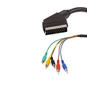 Cablematic - Cable Vídeo RGB 5xRCA a Euroconector (M/M) 1.8m
