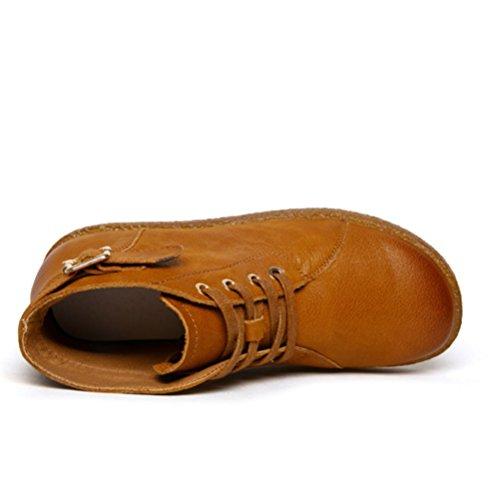 Vogstyle Damen Flach Stiefeletten Unifarben Elegant Boots Mit Riemen Braun