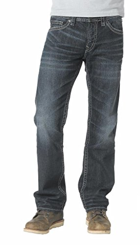 Silver Jeans Men's Nash Classic Fit Straight Leg Jeans, Dark Wash, 36x32 Classic Low Rise Trousers