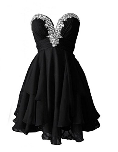 Black Chiffon Sweetheart Beading (Ikerenwedding Women's Mini Sweetheart Chiffon Homecoming Dress with Beadings Black US10)