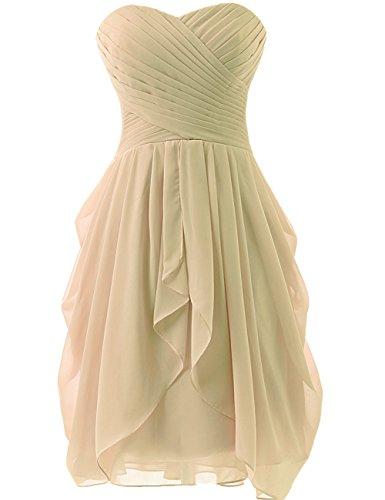 Champagner Ballkleider Kurz Damen Chiffon Brautjungfernkleider Hochzeitskleider JAEDEN Partykleider fBS04n