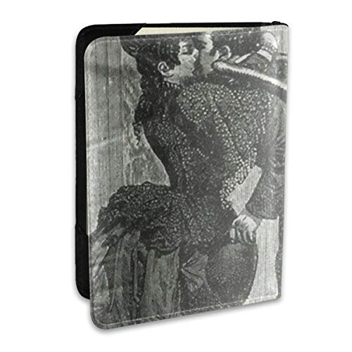 SXboxing Leather Passport Holder Cover Case,Travel Wallet For Women Men Black Steampunk Vampire Kiss Victorian Unique