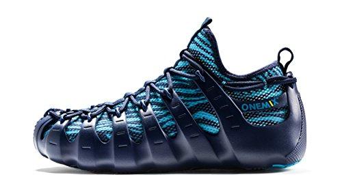ONEMIX Herren Damen Sneakers leichte atmungsaktive Outdoor Wanderschuhe sockenähnliche Turnschuhe Dunkelblau