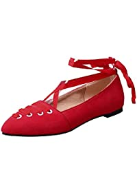FANIMILA Women Fashion Lace Up Ballet Flats Pumps
