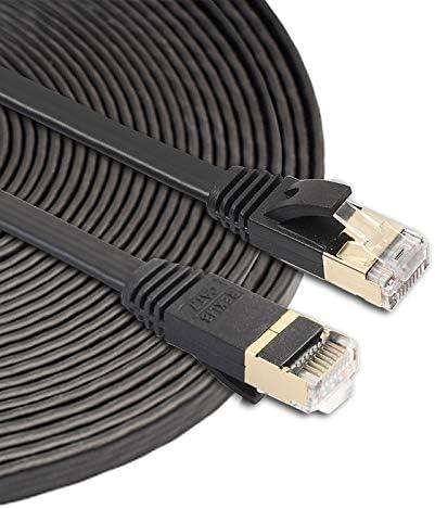 Built with Shielded RJ45 Connectors 10m CAT7 10 Gigabit Ethernet Ultra Flat Patch Cable LIAOTIAN for Modem Router LAN Network Black Color : Black
