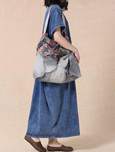 Vogstyle - Vestido - vestido - para mujer Bleu-manches courte