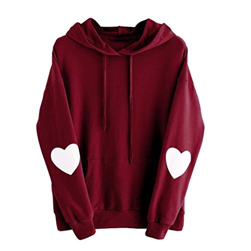 Womens Sweet Heart Long Sleve Hoodie Sweatshirt Jumper Pullover Tops Blouse (L, Wine Red)