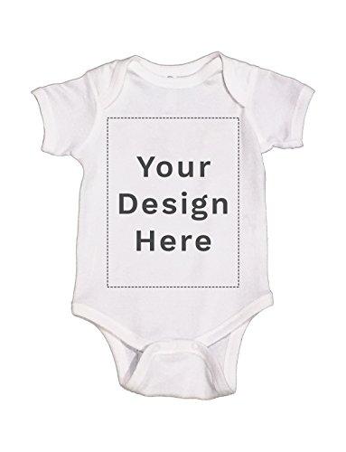 Wow! Custom Tees Custom Design Your Own Baby Onesie Jumper Bodysuit Soft Cotton (White, - Custom Onesies