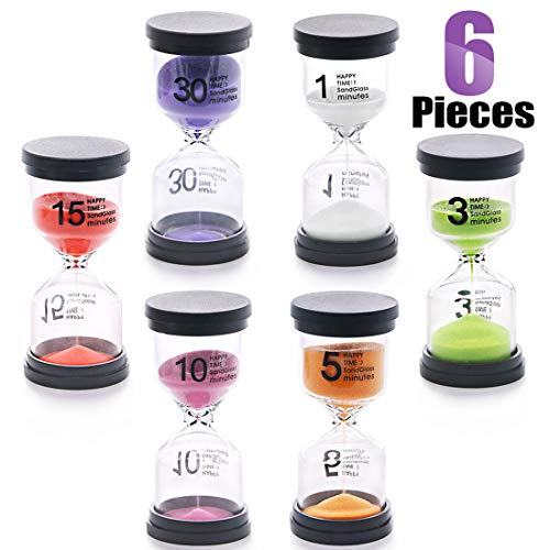 Swpeet 6 Pack 6 Colors Sand Timer Hourglass Sandglass Timer Assortment Kit, Including 1 min/3 mins/5 mins/10 mins/15 mins/30 mins Sand Clock Timer for Kids Games Classroom Home Office Kitchen]()