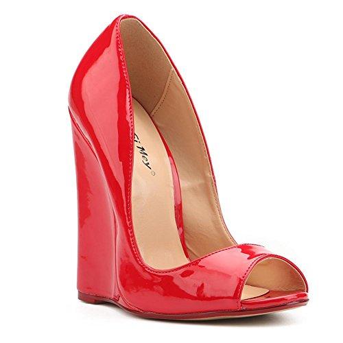 L@YC Talones Para Mujer Pendiente con Comodidad Novedad Sintética de Piel Sintética PU Informal Vestido de Oficina y Carrera Red