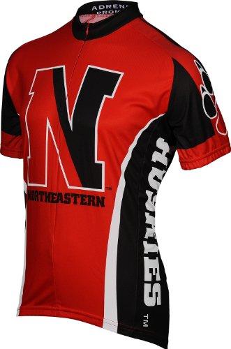 University Cycling Jersey - NCAA Northeastern Men's Cycling Jersey, White, Medium