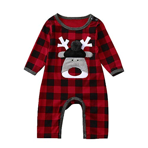 WOSENHK Newborn Baby Boys Girls Christmas Bodysuits Outfits Red Plaid Deer Printed Long Sleeve Romper Jumpsuits (red, 80/6-12months) -