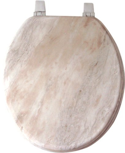 Home Dynamix VMR-105 Veneer Marble Toilet Seat, 17-Inch, White (In Seats Toilet Wooden China)