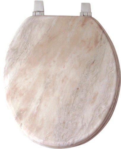 Home Dynamix VMR-105 Veneer Marble Toilet Seat, 17-Inch, White