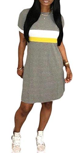 Mini Short Light Sexy Line A Sleeve Jaycargogo Summer Womens Shift Grey Dress wAnfUxq8p