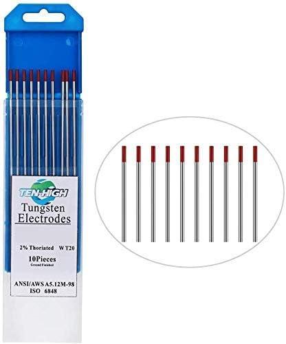 TEN-HIGH TIG Tungsten Electrodes, Thorium 2%, WT20(Red) Thorium Tungsten Electrode, 2.0mm x175mm 10pcs Pack.
