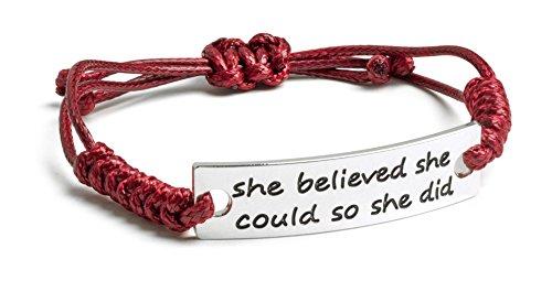 she-believed-she-could-so-she-did-inspirational-silver-plated-burgundy-adjustable-bracelet