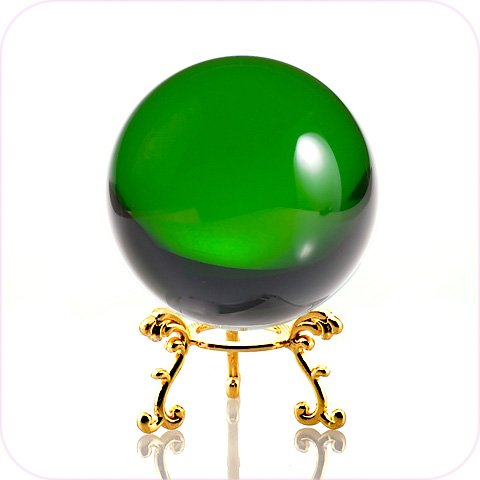 Amlong Crystal Green Crystal Ball 60mm (2.3 in.) Including Golden Flower Stand and Gift Package ()