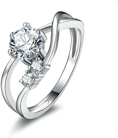 Bishilin Silber 925 Ring Damen 6-Steg-Krappenfassung Rund Brillant Weiß Zirkonia Verlobungsring Hochzeitsring Silber