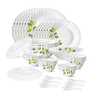Larah by Borosil Green Leaves Silk Series Opalware Dinner Set, 35 Pieces, White