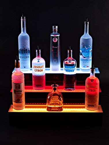 24'' inch 3 Tier Lighted Liquor Shelves Bottle Display LED  Home bar Lights by Armana Productions (Image #1)
