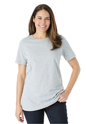 Womens Plus Size Top  Perfect Crewneck Tee In Soft Cotton Knit Heather Grey 1X