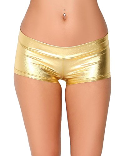 iHeartRaves Metallic Rave Booty Dance Shorts (X-Large,