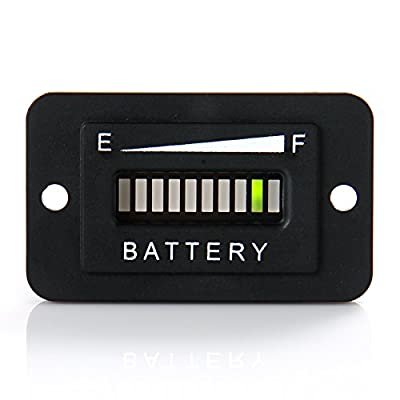 Runleader RL-BI003 12-24V 36V 48V 72V Battery Fuel Gauge Indicator for DC Powered Equipment Such as Fork Lifts, Golf carts, Floor Care Equipment, and Any Other Battery Powered Equipment. (36V): Automotive