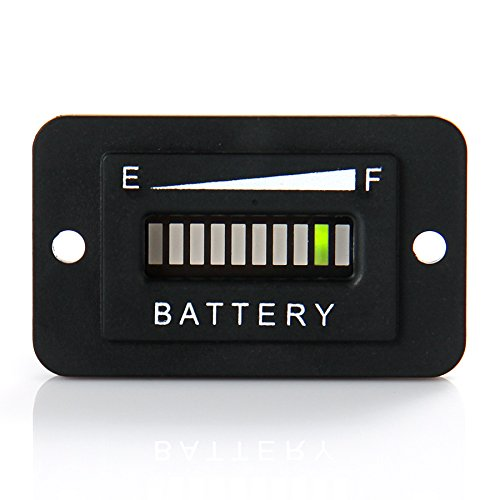 RunLeader RL-BI003 12V/ 24V Battery Fuel Gauge Indicator LED Battery Indicator Meter Gauge for Golf Cart,Fork Lifts, Floor Care Equipment, EZGO, Yamaha, Club Car (Charge Battery Indicator)