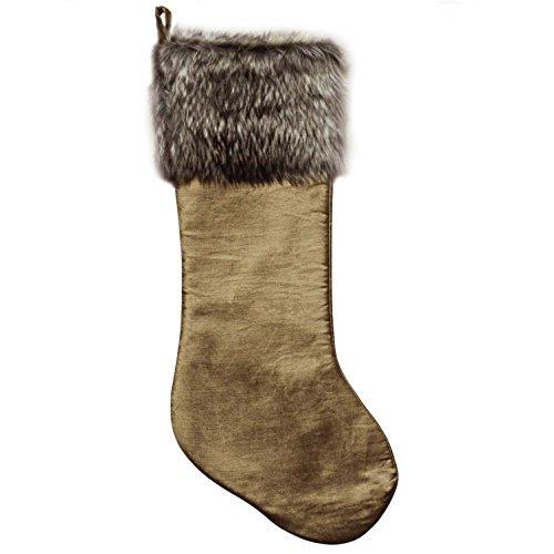 Gireshome Khaki velvet fabric with faux fur cuff Christmas stocking gift socks 10