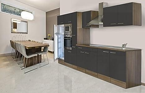 Respekta einbau küche küchenblock 360 cm eiche york nachbildung grau backofen ceran mikrowelle apothekerschrank amazon de küche haushalt