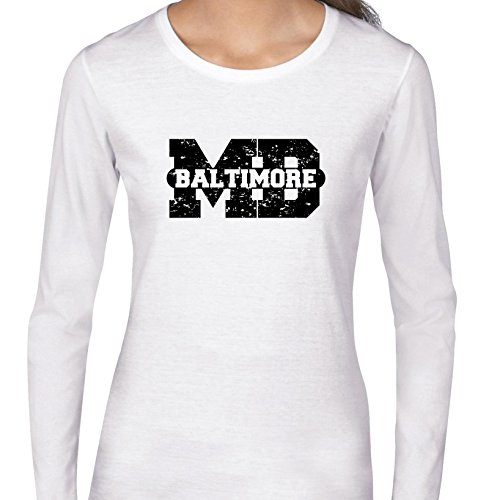 Baltimore, Maryland MD Classic City State Sign Women's Long Sleeve T-Shirt (Party City Baltimore Md)
