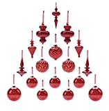 Youseexmas Mouth Blown Glass Christmas Ornaments Pack of 17 MEDIUM Size (red)