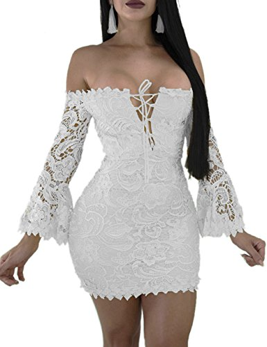 FairBeauty Women s Lace Dress Sexy Off Shoulder Flare Sleeve Floral Bodycon  Party Club Mini Dress 3d26b2d02262