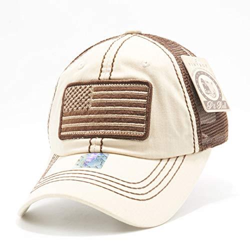 Honor Country USA American Flag Baseball Cap Black - Cream -