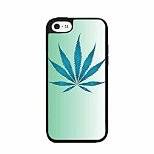Fuzzy Weed Leaf on Blue Background Plastic Fashion Phone Case Back Cover iPhone 5 5s