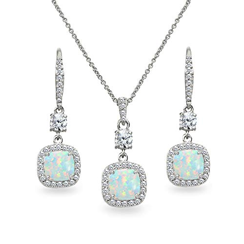 (Sterling Silver Simulated White Opal Cushion-Cut Halo Dangle Leverback Earrings & Pendant Necklace Set)
