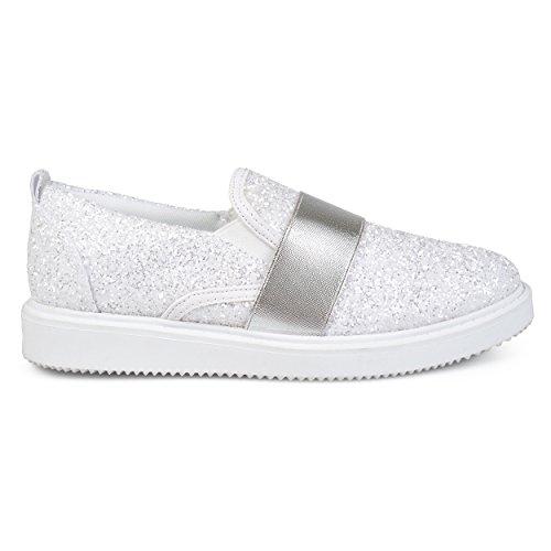 Brinley Co. Glitter-slip Sneakers Voor Dames Wit