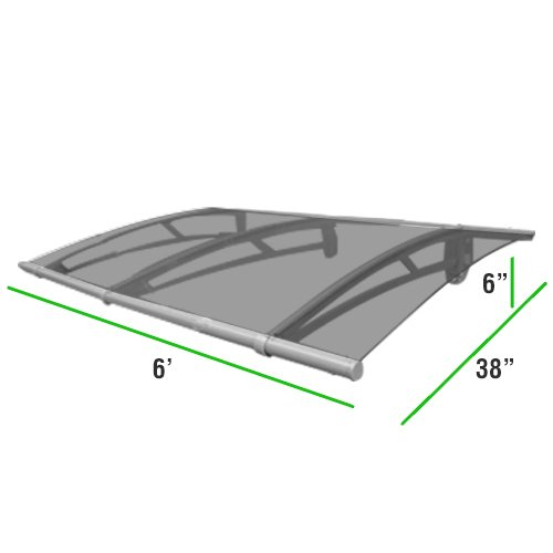 6 Foot Overhead Gray Awning Door Window Canopy Modern Polycarbonate