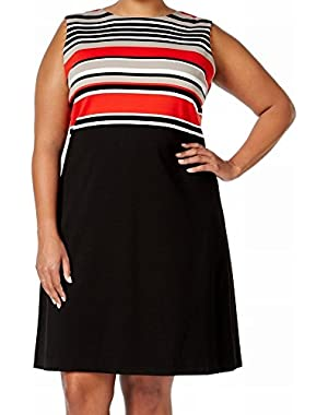 Calvin Klein Red Women's Plus Sheath Striped Dress Black 18W