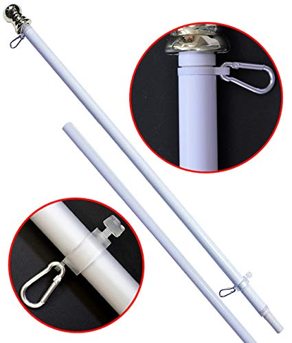 American Signature Flag Pole 6 Ft - Heavy Duty Aluminum Tangle Free Spinning Flagpole for Sale! - Outdoor Wall Mount Flagpole for Residential or Commercial. (White, 6')